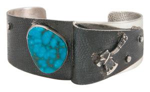 Navajo Native American Kingman Turquoise Bracelet by Lorenzo James SKU230566