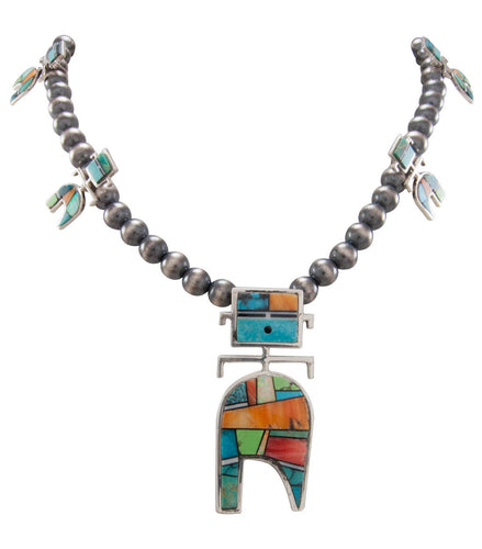 Navajo Native American Turquoise Inlay Yei Necklace by Alexius SKU230568