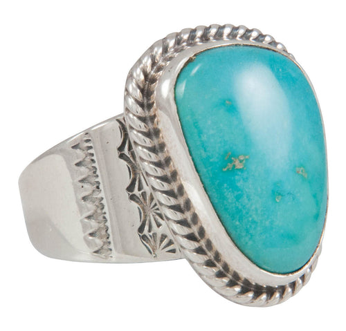 Navajo Native American Castle Dome Turquoise Ring Size 10 1/2 SKU230571