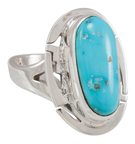 Navajo Native American Castle Dome Turquoise Ring Size 7 by Charley SKU230574