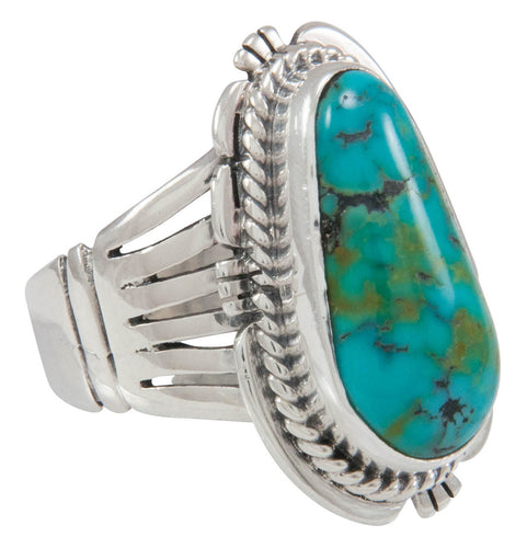 Navajo Native American Blue Moon Turquoise Ring Size 7 by Jake SKU230575