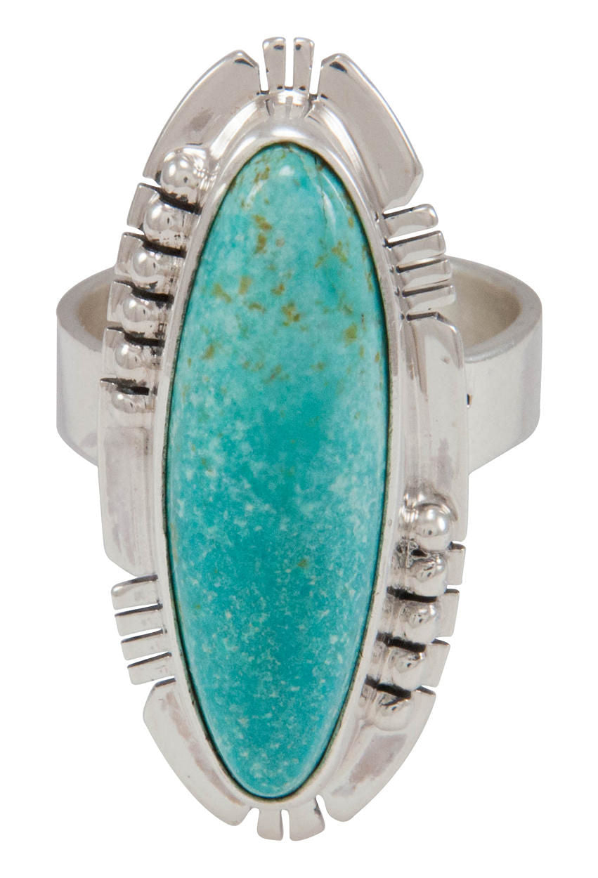 Navajo Native American Turquoise Mountain Turquoise Ring Size 7 SKU230578