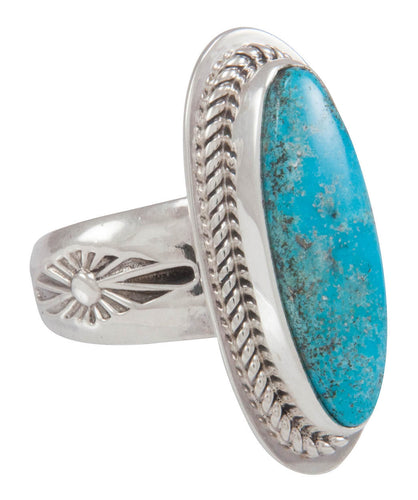 Navajo Native American Turquoise Mountain Turquoise Ring Size 7 1/2 SKU230579