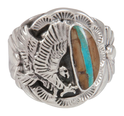 Navajo Native American Royston Ribbon Turquoise Ring Size 10 3/4 SKU230585