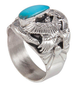 Navajo Native American Turquoise Mountain Turquoise Ring Size 10 3/4 SKU230586