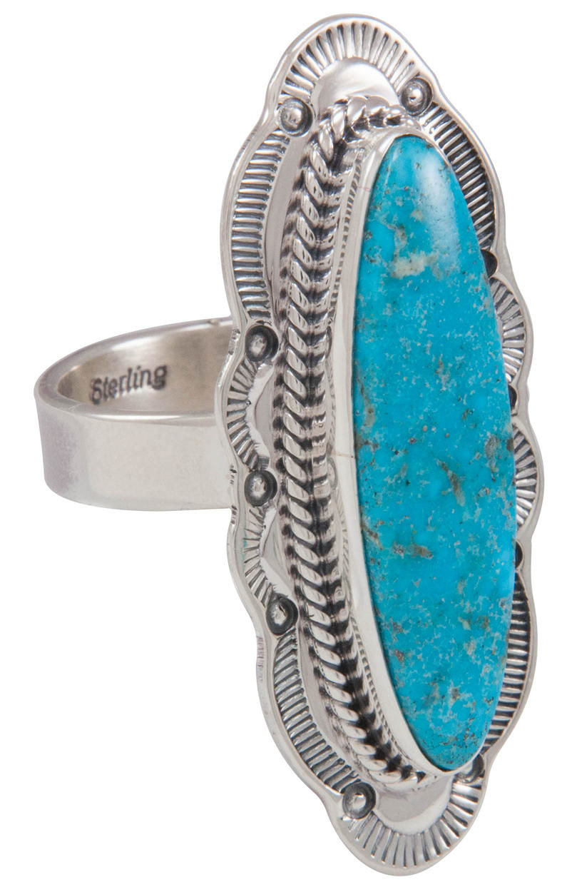 Navajo Native American Kingman Turquoise Ring Size 8 3/4 by Piaso SKU230588