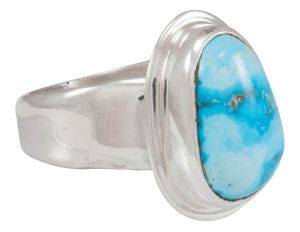 Navajo Native American Kingman Turquoise Ring Size 8 1/2 by Piaso SKU230591