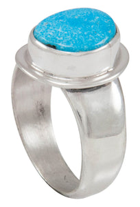 Navajo Native American Kingman Turquoise Ring Size 8 1/4 by Piaso SKU230593