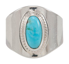 Load image into Gallery viewer, Navajo Native American Kingman Turquoise Ring Size 8 by Herbert Pino SKU230596