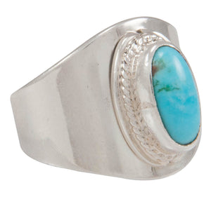 Navajo Native American Kingman Turquoise Ring Size 8 by Herbert Pino SKU230596