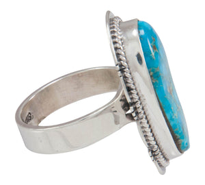 Navajo Native American Kingman Turquoise Ring Size 8 by Sampson Jake SKU230600