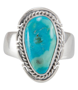 Navajo Native American Candelaria Mine Turquoise Ring Size 6 SKU230604