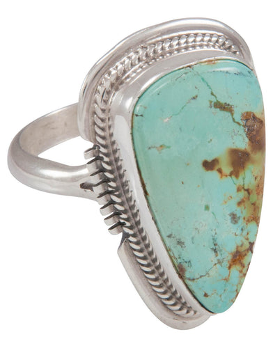 Navajo Native American Emerald Valley Mine Turquoise Ring Size 7 3/4 SKU230617