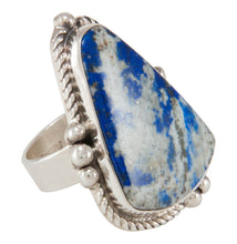 Load image into Gallery viewer, Navajo Native American Lapis Ring Size 6 3/4 by Bennie Ration SKU230640