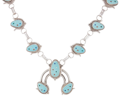 Zuni Native American Sleeping Beauty Turquoise Corn Naja Necklace SKU230642