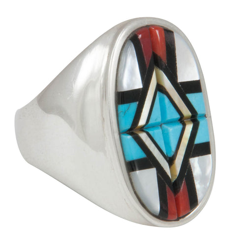 Zuni Native American Turquoise Inlay Ring Size 11 3/4 by Natachu SKU230727