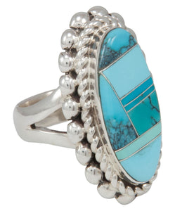 Navajo Native American Turquoise Inlay Ring Size 7 1/4 by Lincoln SKU230736