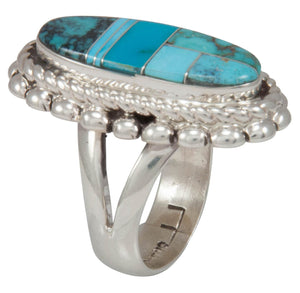 Navajo Native American Turquoise Inlay Ring Size 7 1/4 by Lincoln SKU230737