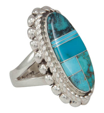 Load image into Gallery viewer, Navajo Native American Turquoise Inlay Ring Size 7 1/4 by Lincoln SKU230737