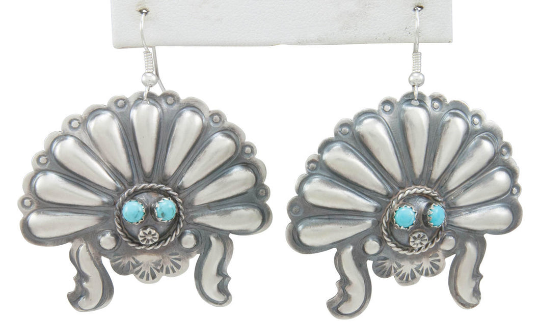 Navajo Native American Turquoise Sunface Earrings by Tim Yazzie SKU230755