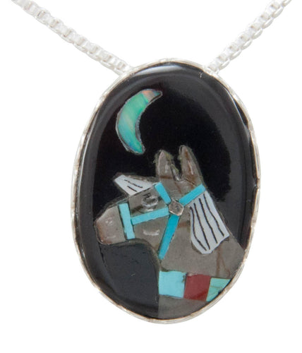 Zuni Native American Turquoise Horse Pendant Necklace by Concho SKU230758