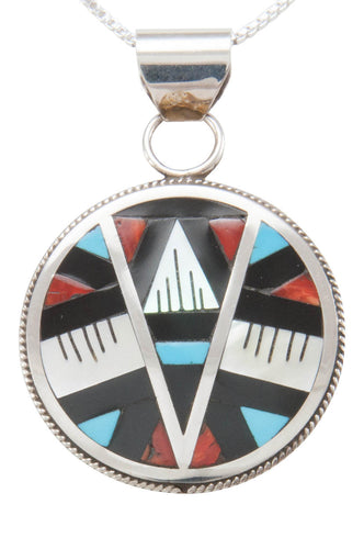 Zuni Native American Turquoise Inlay Pendant Necklace by Othole SKU230760
