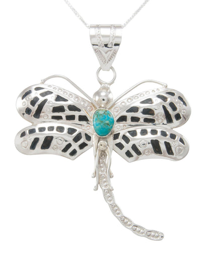 Navajo Native American Kingman Turquoise Dragonfly Pendant Necklace SKU230762