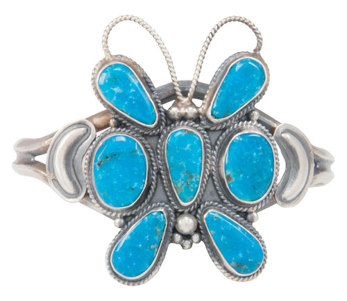 Navajo Native American Turquoise Butterfly Bracelet by Dean Brown SKU230767