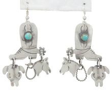 Load image into Gallery viewer, Navajo Native American Turquoise and Silver Boot Earrings by Yazzie SKU230789