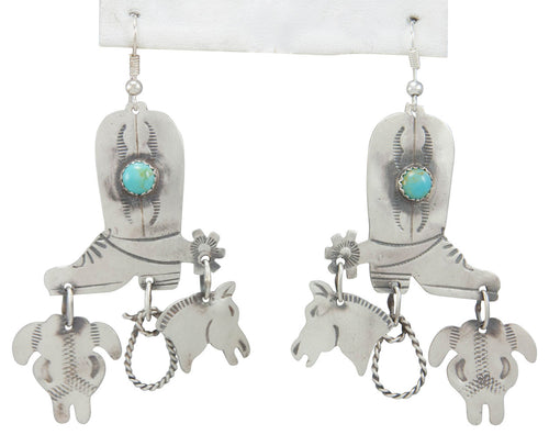 Navajo Native American Turquoise and Silver Boot Earrings by Yazzie SKU230789