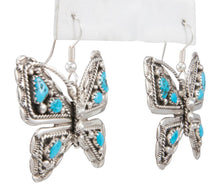 Load image into Gallery viewer, Navajo Native American Kingman Turquoise Butterfly Earrings by Jones SKU230793