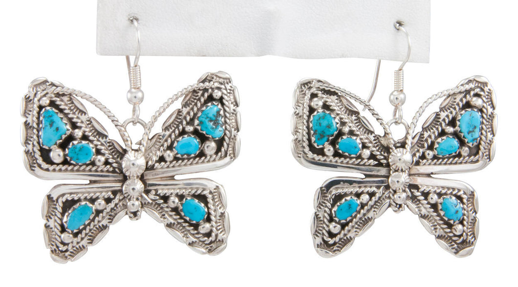 Navajo Native American Kingman Turquoise Butterfly Earrings by Jones SKU230793
