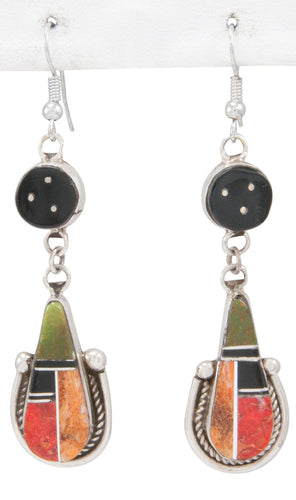 Navajo Native American Turquoise and Coral Earrings by Trina Jack SKU230798