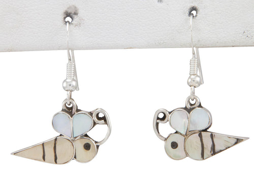 Zuni Native American Mother of Pearl Bumble Bee Earrings SKU230800