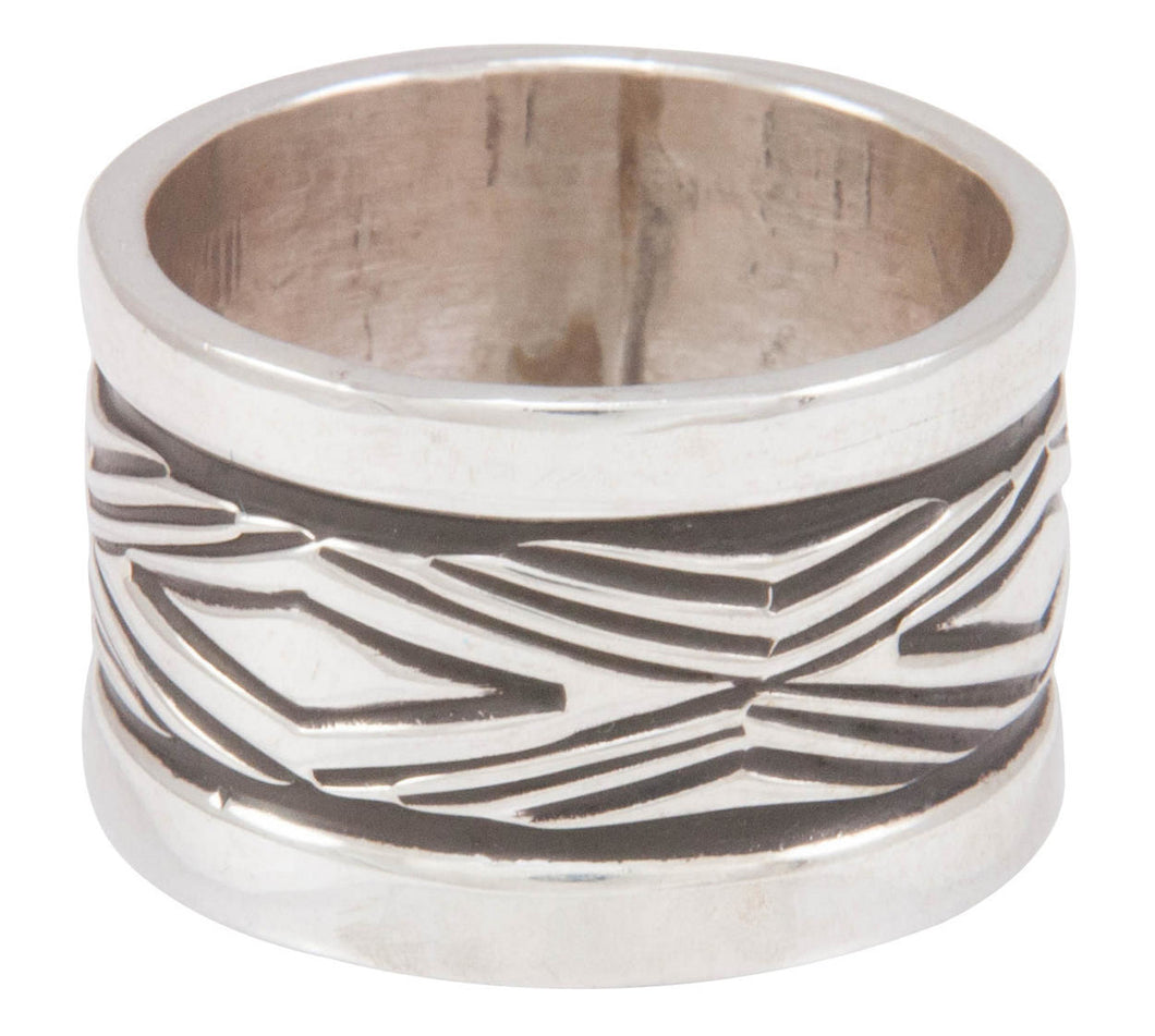 Navajo Native American Stamped Silver Ring Size 7 3/4 by Largo SKU230822