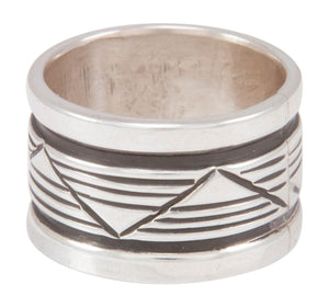 Navajo Native American Stamped Silver Ring Size 8 3/4 by Largo SKU230823