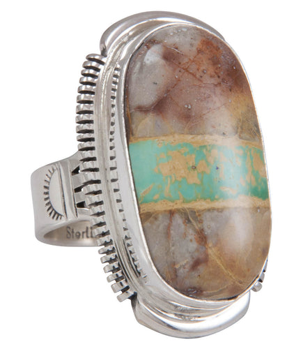 Navajo Native American Royston Ribbon Turquoise Ring Size 7 1/2 SKU230839