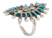 Load image into Gallery viewer, Zuni Native American Needlepoint Turquoise Ring Size 6 3/4 by Gia SKU230854