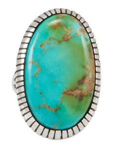 Navajo Native American Kingman Turquoise Ring Size 6 3/4 by Shakey SKU230855