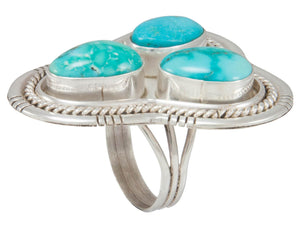 Navajo Native American Kingman Turquoise Ring Size 8 3/4 by Skeets SKU230858