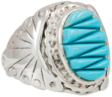 Load image into Gallery viewer, Navajo Native American Kingman Turquoise Ring Size 10 by Dawes SKU230860
