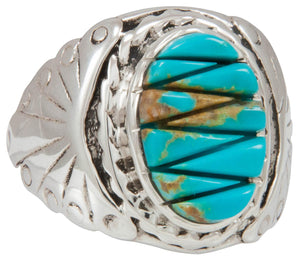Navajo Native American Kingman Turquoise Ring Size 11 by Dawes SKU230861