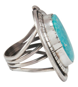 Navajo Native American Kingman Turquoise Ring Size 8 1/2 by Johnson SKU230862
