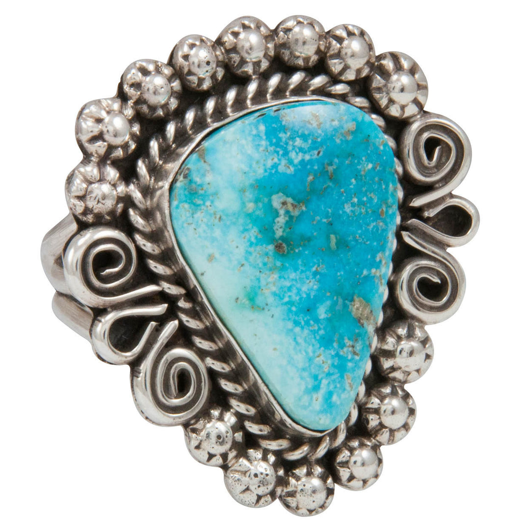 Navajo Native American Kingman Turquoise Ring Size 10 by Johnson SKU230863