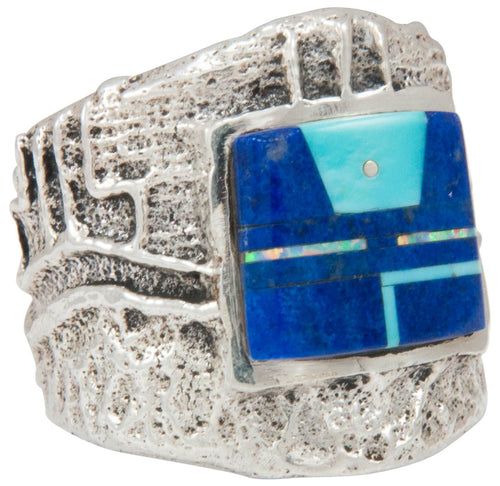 Navajo Native American Turquoise and Lapis Ring Size 8 1/2 by House SKU230867