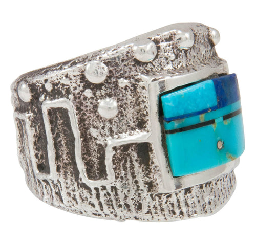 Navajo Native American Turquoise and Lapis Ring Size 8 1/4 by House SKU230868