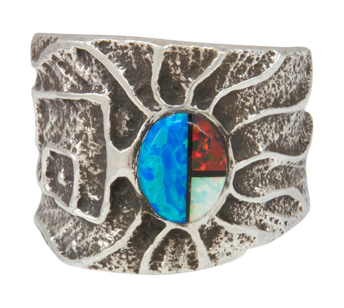 Navajo Native American Turquoise and Lapis Ring Size 12 by House SKU230870