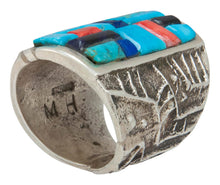 Load image into Gallery viewer, Navajo Native American Turquoise and Lapis Ring Size 8 by House SKU230871