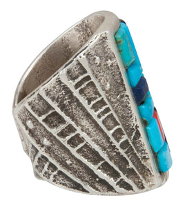 Navajo Native American Turquoise and Lapis Ring Size 8 by House SKU230871