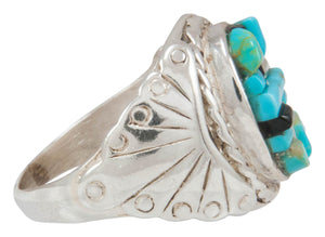 Navajo Native American Turquoise and Jet Inlay Ring Size 11 by Dawes SKU230876